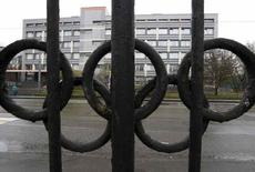 "A view through a fence, decorated with the Olympic rings, shows a building of the federal state budgetary institution ""Federal scientific centre of physical culture and sports"", which houses a laboratory accredited by the World Anti-Doping Agency (WADA), in Moscow, Russia on November 11, 2015.   REUTERS/Sergei Karpukhin/"