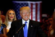 Provável candidato presidencial republicano Donald Trump durante evento em Manhattan.       03/05/2016         REUTERS/Lucas Jackson