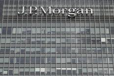 The J.P.Morgan logo is seen at their offices at Canary Wharf financial district in London,Britain, March 3, 2016.  REUTERS/Reinhard Krause