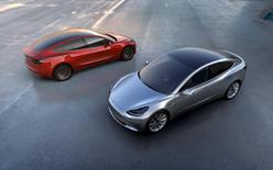 Tesla Motors' mass-market Model 3 electric cars are seen in this handout picture from Tesla Motors on March 31, 2016. REUTERS/Tesla Motors/Handout via Reuters/File Photo