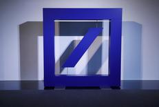 The emblem of Deutsche Bank is pictured during the bank's annual general meeting in Frankfurt, Germany, May 19, 2016.    REUTERS/Kai Pfaffenbach