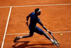 Tennis - Madrid Open - Gael Monfils of France v Kevin Anderson of South Africa - Madrid, Spain - 3/5/16 Monfils returns the ball. REUTERS/Susana Vera