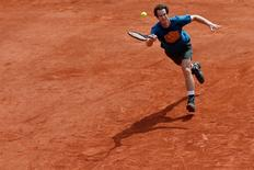 Tennis - French Open training - Andy Murray of Britain returns a ball during a training session - Paris, France - 21/5/16. REUTERS/Pascal Rossignol
