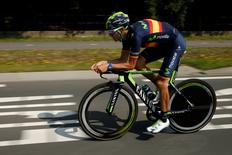 Movistar rider Alejandro Valverde of Spain cycles during a team training session in Utrecht, Netherlands, July 3, 2015. REUTERS/Benoit Tessier