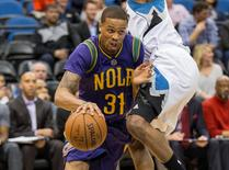 Feb 8, 2016; Minneapolis, MN, USA; New Orleans Pelicans guard Bryce Dejean-Jones (31) dribbles the ball past a Minnesota Timberwolves player in the first half at Target Center. Mandatory Credit: Jesse Johnson-USA TODAY Sports/File Photo