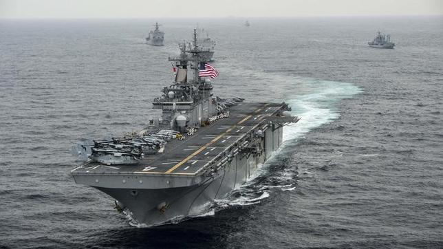 The amphibious assault ship USS Boxer  transits the East Sea during Exercise Ssang Yong 2016 March 8, 2016. REUTERS/U.S. Navy/Mass Communication Specialist Seaman Craig Z. Rodarte/Handout via Reuters