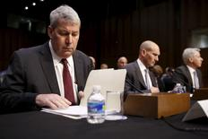 Valeant CEO Michael Pearson, former CFO Howard Schiller and Pershing Square Capital Management CEO Bill Ackman take their seats to testify about price spikes in decades-old pharmaceuticals before a hearing of the U.S. Senate Special Committee on Aging on Capitol Hill in Washington, April 27, 2016. REUTERS/Jonathan Ernst