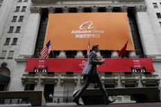 Signage for Alibaba Group Holding Ltd. covers the front facade of the New York Stock Exchange November 11, 2015.     REUTERS/Brendan McDermid/File Photo