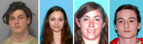 A combination photo showing undated handout photos of Eric Averill (L to R), Myia Barber, Allison Gee and Jordan Paul, released June 3, 2016 in Burlington, Vermont.  Courtesy of Burlington Police Dept/Handout via REUTERS  Courtesy of Burlington Police Dept/Handout via REUTERS