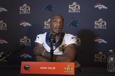 February 4, 2016; Santa Clara, CA, USA; Denver Broncos cornerback Aqib Talib (21) addresses the media during a press conference prior to Super Bowl 50 at Santa Clara Marriott. Mandatory Credit: Kyle Terada-USA TODAY Sports