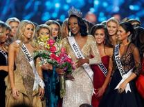 Deshauna Barber (C) of the District of Columbia celebrates with other contestants after being crowned Miss USA 2016 during the 2016 Miss USA pageant at the T-Mobile Arena in Las Vegas, Nevada, U.S., June 5, 2016. REUTERS/Steve Marcus