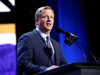 Apr 28, 2016; Chicago, IL, USA; NFL commissioner Roger Goodell announces the draft picks in the first round of the 2016 NFL Draft at Auditorium Theatre. Mandatory Credit: Kamil Krzaczynski-USA TODAY Sports