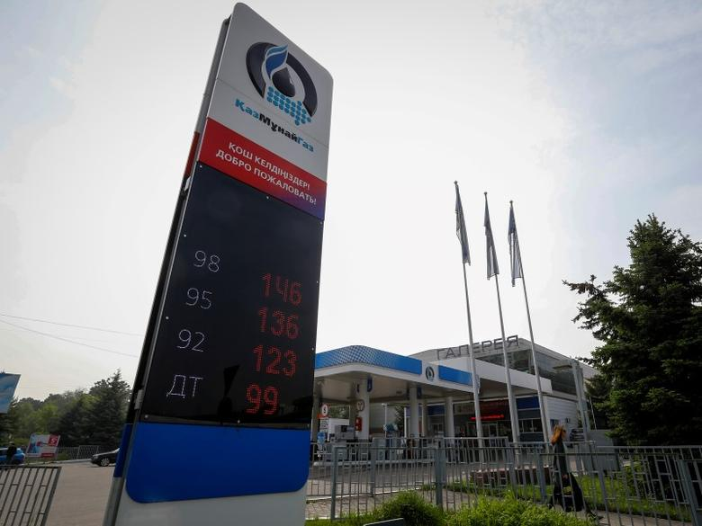 Fuel prices are displayed at a Kazakh state-owned oil and gas company KazMunayGas gas station in Almaty, Kazakhstan, May 4, 2016.  REUTERS/Shamil Zhumatov