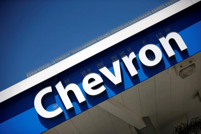 The logo of Dow Jones Industrial Average stock market index listed company Chevron (CVX) is seen in Los Angeles, California, United States, April 12, 2016. REUTERS/Lucy Nicholson