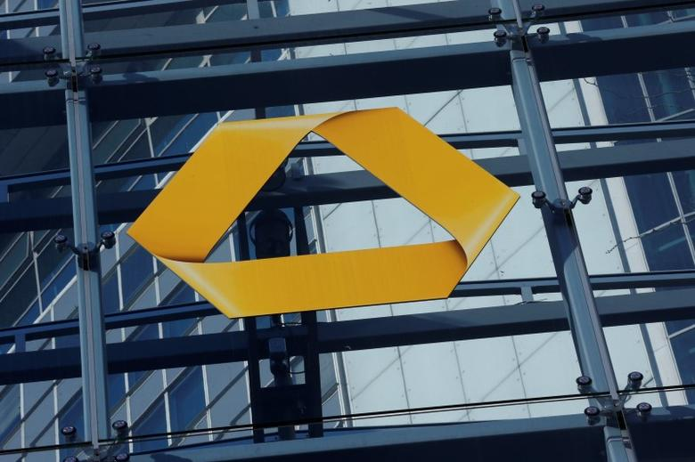 A Commerzbank logo is pictured after the bank's annual news conference in Frankfurt, Germany, February 12, 2016.       REUTERS/Ralph Orlowski/File Photo - RTX2CJD2
