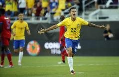 Jun 8, 2016; Orlando, FL, USA; Brazil midfielder Philippe Coutinho (22) celebrates after he scored a goal against the Haiti during the first half of the group play stage of the 2016 Copa America Centenario at Camping World Stadium. Mandatory Credit: Kim Klement-USA TODAY Sports