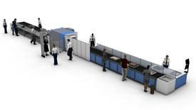 An advanced airport security checkpoint is seen in an undated artist's rendering from the Canadian Air Transport Security Authority (CATSA).  Canadian Air Transport Security Authority/Handout via Reuters