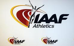 The logo of the International Association of Athletics Federations (IAAF) is seen in Monaco, March 11, 2016.   REUTERS/Eric Gaillard