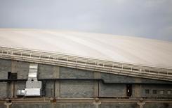 Obra do velódromo que será usado nos Jogos Olímpicos de 2016 no Rio de Janeiro. 25/05/2016 REUTERS/Ricardo Moraes