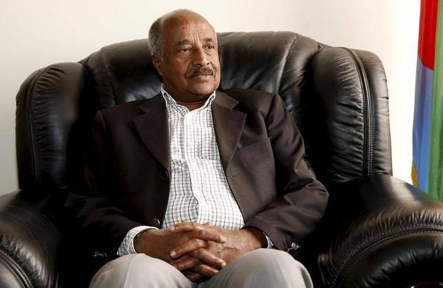 Eritrea's Foreign Minister Osman Saleh Mohammed speaks during a Reuters interview inside his office in the capital Asmara, February 19, 2016.  REUTERS/Thomas Mukoya