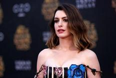 "Cast member Anne Hathaway poses at the premiere of ""Alice Through the Looking Glass"" at El Capitan theatre in Hollywood, U.S., May 23, 2016. REUTERS/Mario Anzuoni"
