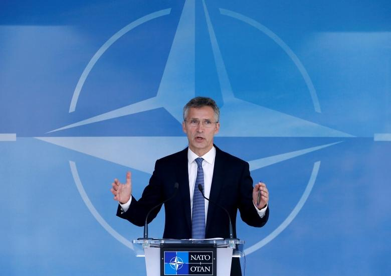 NATO Secretary-General Jens Stoltenberg briefs the media during a NATO defence ministers meeting at the Alliance headquarters in Brussels, Belgium, June 14, 2016. REUTERS/Francois Lenoir