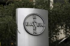 The corporate logo of Bayer is seen at the headquarters building in Caracas March 1, 2016.   REUTERS/Marco Bello/File Photo - RTSFW21