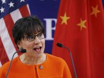 U.S. Commerce Secretary Penny Pritzker makes a speech at Microsoft China Center in Beijing April 14, 2015. Pritzker is leading a U.S. business delegation on a trade mission to China.   REUTERS/Kim Kyung-Hoon