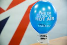 """A branded balloon and mug are seen in the office of pro-Brexit group pressure group """"Leave.eu"""" in London, Britain February 12, 2016. REUTERS/Neil Hall"""