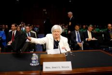 Chair do Fed, Janet Yellen, em Washington.   21/06/2016        REUTERS/Carlos Barria
