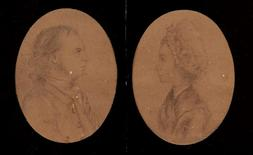 Sketches done in the late 1700s by John Andre, a British spy with ties to Benedict Arnold, are pictured in this undated handout photograph.   Courtesy of Swann Auction Galleries/Handout via REUTERS