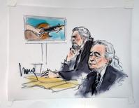 "Led Zeppelin singer Robert Plant (L) and guitarist Jimmy Page are shown sitting in federal court for a hearing in a lawsuit involving their rock classic song ""Stairway to Heaven"" in this courtroom sketch in Los Angeles, California June 14, 2016. REUTERS/Mona Edwards"