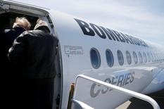 Shareholders tour Bombardier's CS300 aircraft following their annual general meeting in Mirabel, Quebec, Canada, April 29, 2016.  REUTERS/Christinne Muschi