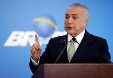Presidente interino Michel Temer faz pronunciamento no palácio do Planalto, em Brasília 16/06/2016 REUTERS/Ueslei Marcelino