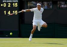 Britain Tennis - Wimbledon - All England Lawn Tennis & Croquet Club, Wimbledon, England - 27/6/16 Japan's Kei Nishikori in action against Australia's Sam Groth REUTERS/Andrew Couldridge