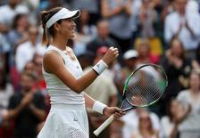 Britain Tennis - Wimbledon - All England Lawn Tennis & Croquet Club, Wimbledon, England - 27/6/16  Spain's Garbine Muguruza celebrates winning her match against Italy's Camila Giorgi REUTERS/Paul Childs