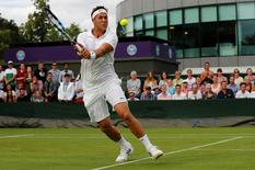 Britain Tennis - Wimbledon - All England Lawn Tennis & Croquet Club, Wimbledon, England - 27/6/16 Great Britain's Marcus Willis in action against Lithuania's Ricardas Berankis REUTERS/Stefan Wermuth