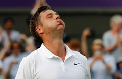 Britain Tennis - Wimbledon - All England Lawn Tennis & Croquet Club, Wimbledon, England - 27/6/16 Great Britain's Marcus Willis celebrates after winning his match against Lithuania's Ricardas Berankis REUTERS/Stefan Wermuth