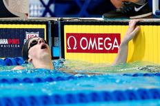 Jun 28, 2016; Omaha, NE, USA; Townley Haas reacts after the men's freestyle 200m finals in the U.S. Olympic swimming team trials at CenturyLink Center. Mandatory Credit: Rob Schumacher-USA TODAY Sports