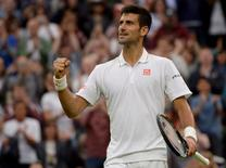 Britain Tennis - Wimbledon - All England Lawn Tennis & Croquet Club, Wimbledon, England - 29/6/16 Serbia's Novak Djokovic celebrates winning his match against France's Adrian Mannarino REUTERS/Tony O'Brien