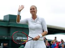 Britain Tennis - Wimbledon - All England Lawn Tennis & Croquet Club, Wimbledon, England - 29/6/16 Czech Republic's Petra Kvitova celebrates winning her match against Romania's Sorana Cirstea REUTERS/Andrew Couldridge