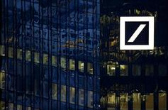 The headquarters of Germany's Deutsche Bank are photographed early evening in Frankfurt, Germany, January 26, 2016. REUTERS/Kai Pfaffenbach/File Photo