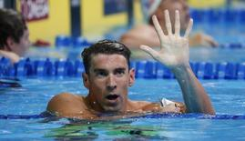 Nadador norte-americano Michael Phelps após garantir vaga na Rio 2016, na seletiva norte-americana. Erich Schlegel-USA TODAY Sports