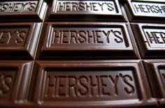 A Hershey's chocolate bar is shown in this photo illustration. REUTERS/Mike Blake