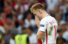 Football Soccer - Poland v Portugal - EURO 2016 - Quarter Final - Stade Velodrome, Marseille, France - 30/6/16 Poland's Jakub Blaszczykowski reacts after missing during the penalty shootout REUTERS/Michael Dalder