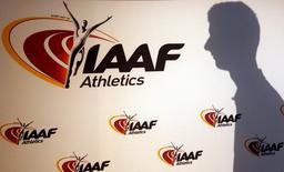 Logo da Associação Internacional de Federações de Atletismo visto durante evento em Mônaco.    11/03/2016       REUTERS/Eric Gaillard/File Photo