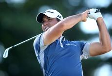 Jul 1, 2016; Akron, OH, USA;  Jason Day of Australia tees off on the seventeenth hole during the second round of the Bridgestone Invitational at Firestone Country Club - South Course. Mandatory Credit: Charles LeClaire-USA TODAY Sports