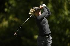 Jun 12, 2016; Sammamish, WA, USA; Suzann Pettersen tees off on the second hole during the final round of the KPMG Women's PGA Championship at Sahalee Country Club - South/North Course. Mandatory Credit: Kelvin Kuo-USA TODAY Sports