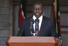 Kenya's Deputy President William Ruto addresses a news conference on the ruling by the International Criminal Court (ICC) on the case against him and broadcaster Joshua Sang in Kenya's capital Nairobi, April 8, 2016. REUTERS/Thomas Mukoya