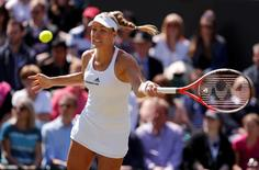 Britain Tennis - Wimbledon - All England Lawn Tennis & Croquet Club, Wimbledon, England - 2/7/16 Germany's Angelique Kerber in action against Germany's Carina Witthoeft REUTERS/Andrew Couldridge